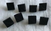 Set of Eight Square Black Glass Tile Button Buttons