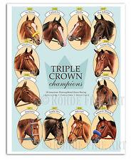 ALL 12 TRIPLE CROWN WINNERS - AMERICAN PHAROAH - 8x10 HORSE RACING ART Rohde