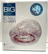 NEW The Big One Glitter & Pom Inflatable Chair Pink Holographic Rainbow Sparkle
