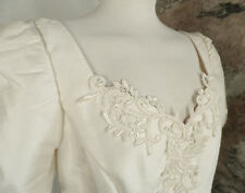 Vintage Ivory Raw Silk Wedding Dress with Lace Detail  Size 12 / 14