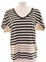 ADIDAS Womens T-Shirt Top EU 42 Large Black Striped Cotton  LN08