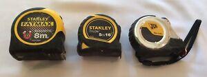 Stanley Fatmax Tape Measure 8m / 26ft Stanley 5m & JCB 5m Tape Measure BUNDLE