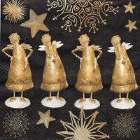4 Motivservietten Servietten Napkins Tovaglioli 33x33cm Goldene Engel (1038)