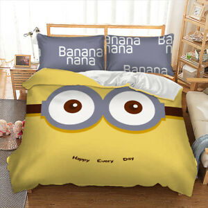 Cartoon Minions Duvet Cover Bedding Set with Pillow Cases Single Double King