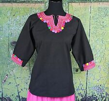 Multi Color & Black Tunic Mayan Fine Hand Embroidery Chamula Mexico Hippie Boho
