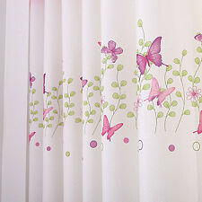 Cute 1Piece Pink Eyelet Butterfly Finished Curtain Kids Curtains For Girls