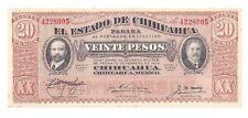 Mexican Revolution Estado de Chihuahua 20 Pesos Banknote Peso Mexico Currency