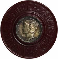 Encased 1945 Mercury Dime March of Dimes 1945 Campaign Token
