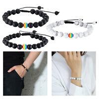 LGBT Homosexuell Stolz Frieden Stein Perlen Armband Paar Schmuck Geschenk