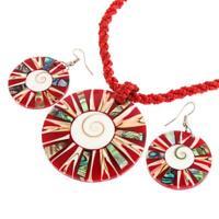 CONE SHELL SHIWA EYE PAUA ABALONE RED BEADED necklace & earring SET