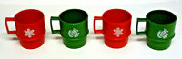 Vintage Set of 4 Tupperware Christmas Mugs -Red & Green - Dove & Snowflake - EUC