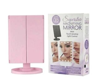 Superstar Magnifying Makeup Mirror Bright LED Trifold Touch Control Pink NEW