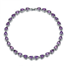 """MODOU Pear Purple Amethyst Tennis Necklace White Gold Filled Party Jewelry 18"""""""