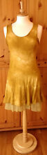 ITALIAN size S mustard yellow tie-dyed layered summer beach dress - silk cotton