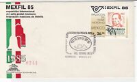 mexico 1985 philatelic exhibition stamps cover ref 20283