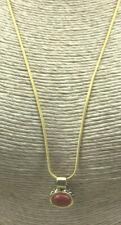 Roman Necklace Red Jasper Gemstone oval Pendant Goldtone Snake Chain