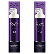 2 x Olay Anti-Wrinkle Booster Firm & Lift 2-In-1 Day Cream & Firming Serum 50ml