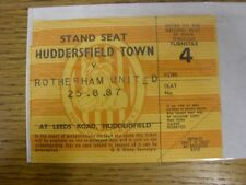 25/08/1987 Ticket: Huddersfield Town v Rotherham United  (corner torn off slight