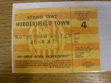 25/08/1987 Ticket: Huddersfield Town v Rotherham United  (corner torn off slight