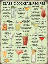 Classic Cocktail Recipes Metal Wall Sign M10647