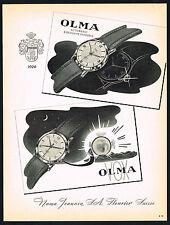 1950's Vintage 1956 Numa Jeannin Olma Automatic & Vox Alarm Watch Art Print AD
