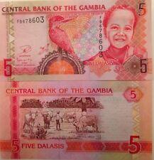GAMBIA 2013 5 DALASIS UNCIRCULATED BANKNOTE P-25 KINGFISHER FROM A USA SELLER !