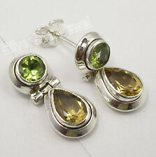 925 Solid Silver Genuine PERIDOT & CITRINE 2 STONE Studs Posts Earrings 0.8""