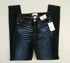 MUDD Women's Blue Jeans Size 0 Mid Rise Ankle Stretch Distressed Dark Wash