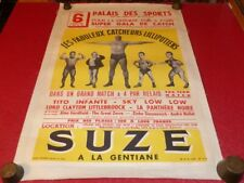 RARE AFFICHE ORIGINALE CATCHEURS LILLIPUTIENS 1950 PARIS French WRESTLING Midget