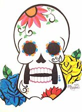 Day of the Dead Art, Sugar Skull Drawing, 9x12 Inches on Drawing Paper, Artist