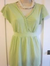 Ladies size 14 George green platted neckline summer tunic top short sleeves