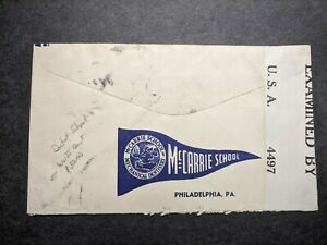 McCARRIE DENTISTRY SCHOOL Censored WWII Postal History Cover ANCON, CANAL ZONE