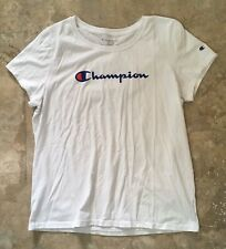 Champion Women's Fitted T Shirt White Logo L