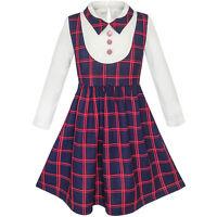 Sunny Fashion Robe Fille 2-en-1 École Uniforme Vérifié Plaid Jarretelle Jupe