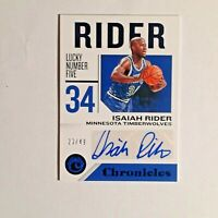 2018-19 Chronicles Blue Rookie Signatures Isaiah Rider Rc Auto #20/49