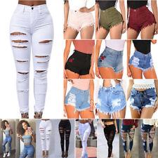 FEMMES COUPE Extensible déchiré Skinny Jeans taille haute Pantalon chaud short