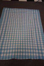 "1950's Tablecloth- Blue & White Plaid - 47""x60""- VG- FARMHOUSE KITCHEN- SALE"