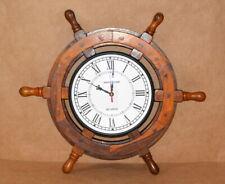 "Ship time wall clock wooden & brass 18"" ship's wheel decorative clock home decor"