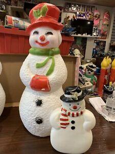 "Vintage Union Blowmold Blow Mold Christmas Snowman 22"" Plus Bonus Window Mold !"
