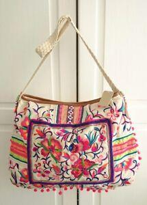 BNWT Accessorize Bright Floral BoHo Tapestry Slouch Pompom Shoulder Handbag