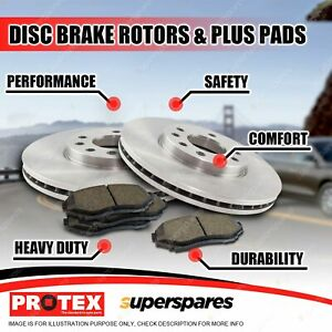 Protex Front Brake Rotors + Plus Pads for Ford F250 F350 4WD SRW 6.7L V8 2005-on