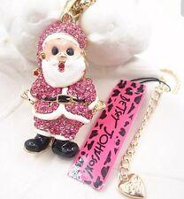 Betsey Johnson Necklace SANTA Fat Santa Claus Pink Gold Crystals