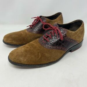 Cole Haan Shoes Mens 8M Derby Saddle Brown Suede Lace Up Croc Embossed Comfort