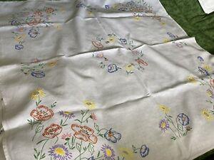 """vintage hand embroidered linen tablecloth Ladder Stitched Hem 50"""" 50"""""""