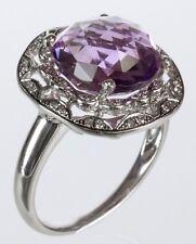 Lavender Color Amethyst & Diamond Ring in 14k White Gold
