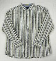 Tommy Bahama Mens Long Sleeve Cotton Striped Hawaiian Button Up Shirt Size 3XL