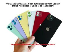 Vitre arrière Iphone 11 Noir Blanc Rouge Violet Jaune Vert / BIG HOLE LOGO + CE