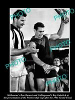 OLD 8x6 PHOTO OF RON BARASSI WITH THE PREMIERSHIP CUP MELBOURNE FC 1964