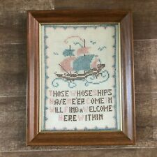 Vintage cross stitch framed picture women ship comes in welcome within blue pink