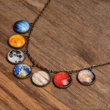 Solar system necklace, handmade planet universe galaxy necklace brass pendant